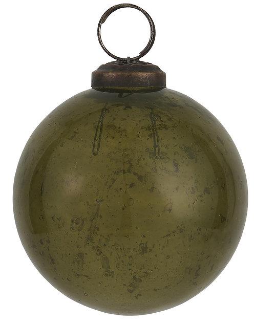 Christbaumkugel mit Einschlüssen, grünes Glas, gross