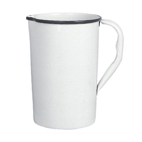 Krug, Kanne, Vase, Metall weiss - Olle gross