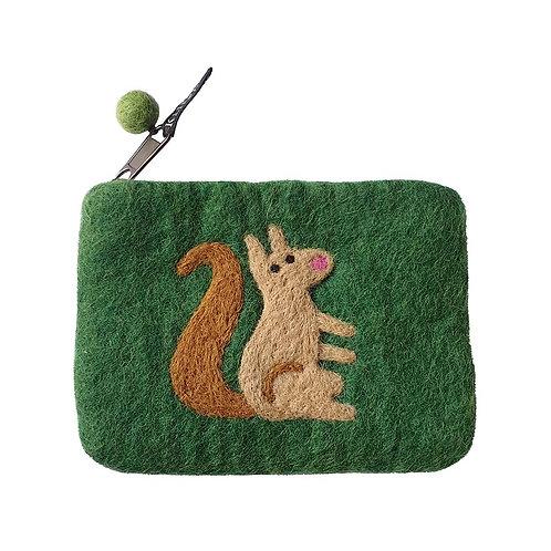 Geldbörse / Tasche Squirrel aus gefilzter Wolle