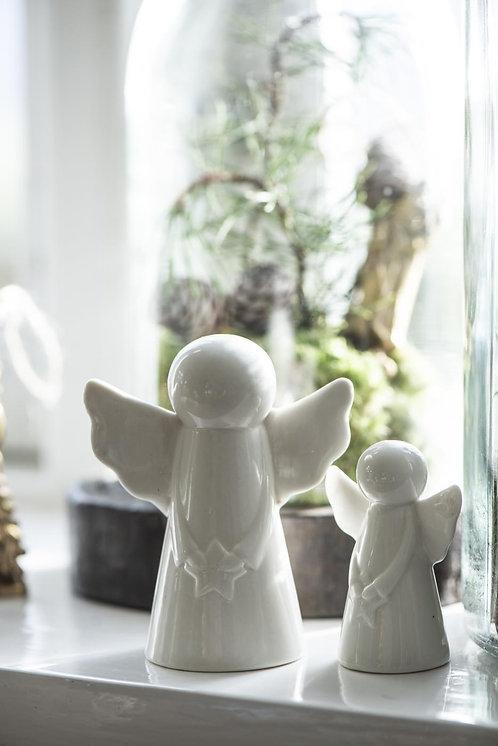 Engel mit Stern aus Porzellan, 7cm