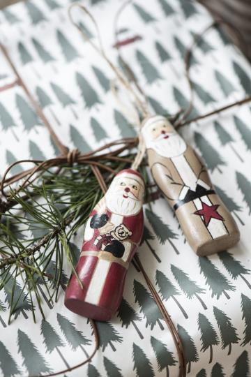Set von 2: Weihnachtsmann aus Holz als Dekoration