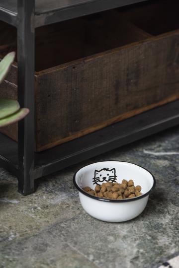 Fressnapf aus Emaille für Katzen, weiss