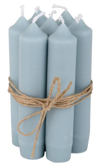 10er Set Kerzen, 11cm lang, hellblau