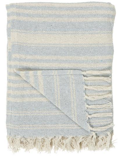 Decke aus Baumwolle mit Streifen in hellblau-beige