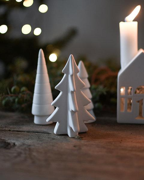 Tannenbaum Granby, weiß, Deko Figur, Weihnachtsfigur