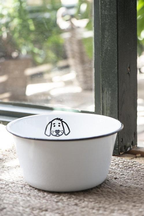 Fressnapf aus Emaille für Hunde, weiss, gross