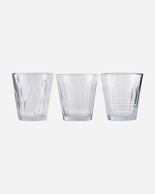 Vintage Glas, Wasserglas, Trinkglas - Set von 3 Gläsern