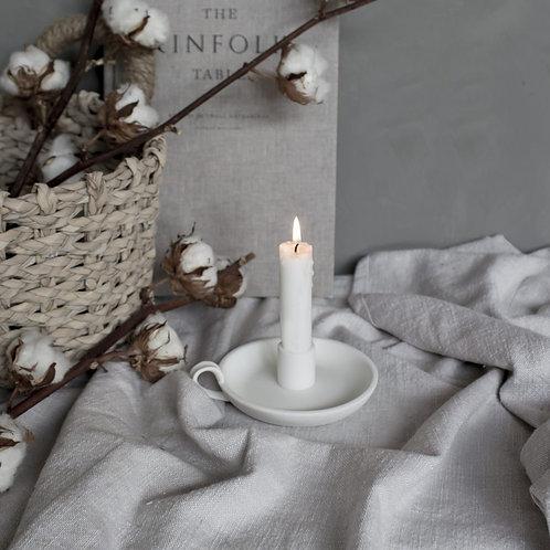 Kerzenleuchter Keramik, Kammerleuchter, Ljungby, weiss