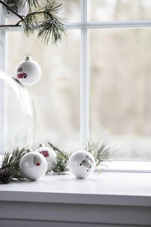 4er Set Christbaumkugel mit Weihnachtsmotiven
