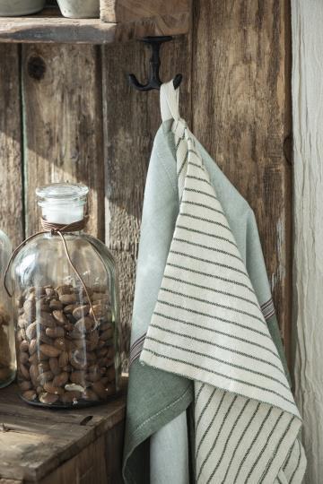 Handtuch / Geschirrtuch schmale grüne Streifen