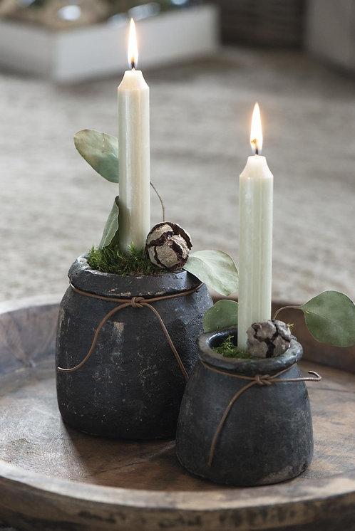 10er Set Kerzen cremefarben, 18cm, rustikale Kerze