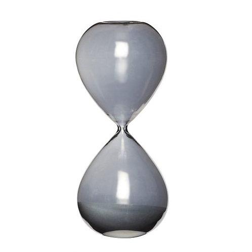 Sanduhr aus grauem Rauchglas