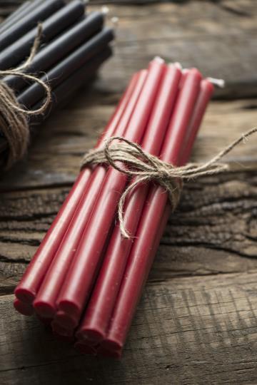 10er Set Kerzen, dünn, 20cm lang, rot