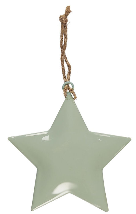 Deko Stern, grün, klein, zum anhängen, mit Juteschnur