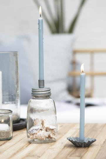 10er Set Kerzen, dünn, 20cm lang, hell blau
