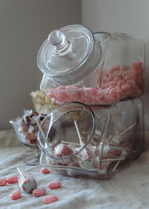 Bonbonniere, Vintage Vorratsglas, Bonbonblas mit Deckel, stabelbar