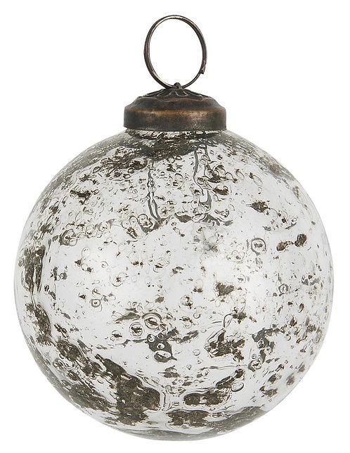 Christbaumkugel mit Einschlüssen, klares Glas, gross