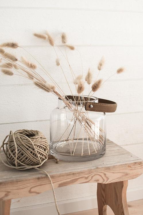Windlicht Hultsbruk Glas/Leder, klein