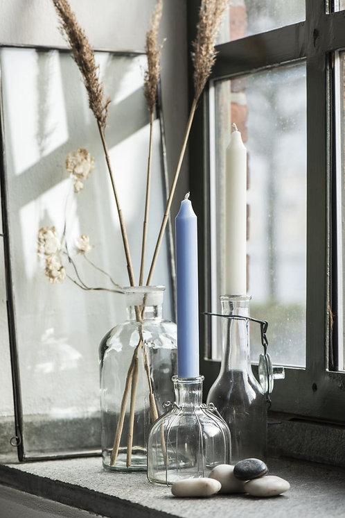 10er Set Kerzen hellblau, 18cm, rustikale Kerze