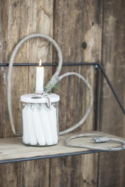 Glashalter für Kerzen, Kerzenhalter, mit Metalldeckel weiss