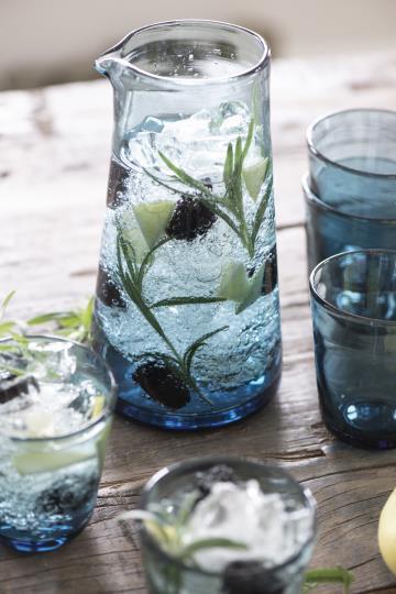 Kanne, Krug, Glaskrug, blau