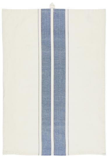 Geschirrtuch, mit blauen und schmalen schwarzen Streifen