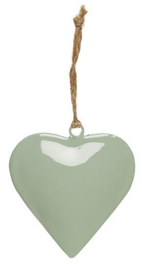 Deko Herz, grün, klein, zum anhängen, mit Juteschnur