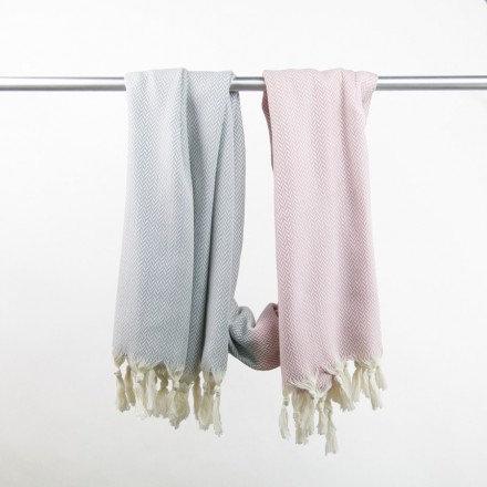 Decke / Hamamtuch Manolya - rosa/lichtgrau