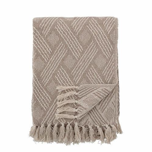 Plaid, Decke, natur mit gekreuztem Muster, Baumwolle