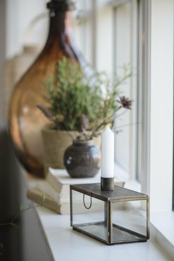 Kerzenhalter, normale Kerzen, Messing und Glas