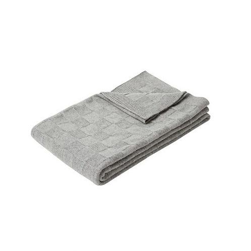 Decke mit Schachbrettmuster, hellgrau, gestrickt, Lammwolle