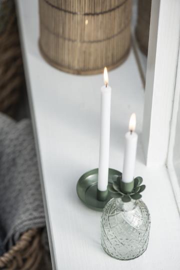 10er Set Kerzen, dünn, 20cm lang, weiss