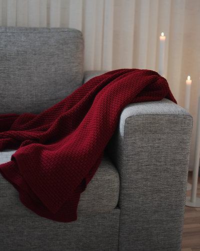 Decke Vigge, rot, gestrickte Decke, Baumwolle