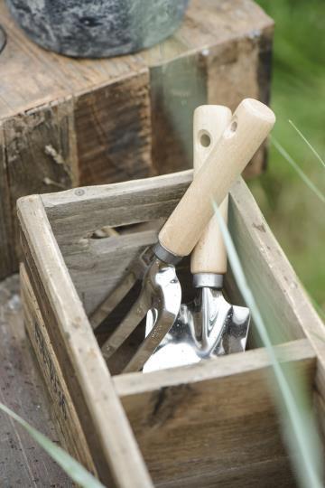 Gartenwerkzeug Pflanzgabel aus Holz und Edelstahl
