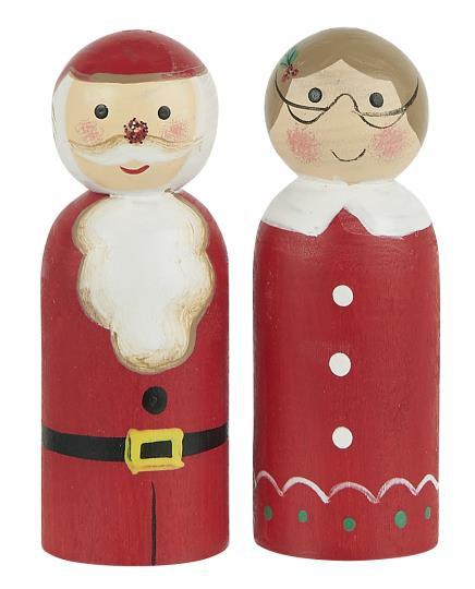 Weihnachtsmann und Weihnachtsfrau aus Holz als Dekoration