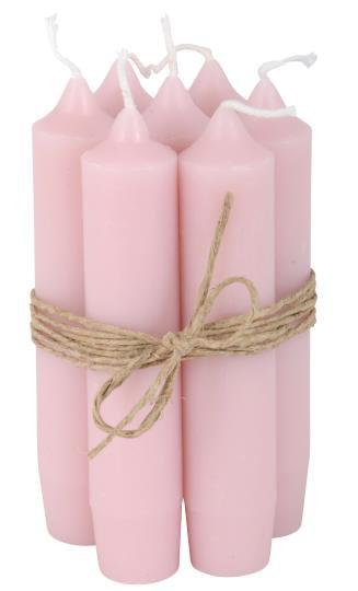 10er Set Kerzen, 11cm lang, rosa