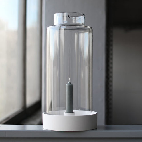 Kerzenhalter Storm, weiß - mit oder ohne Glaszylinder