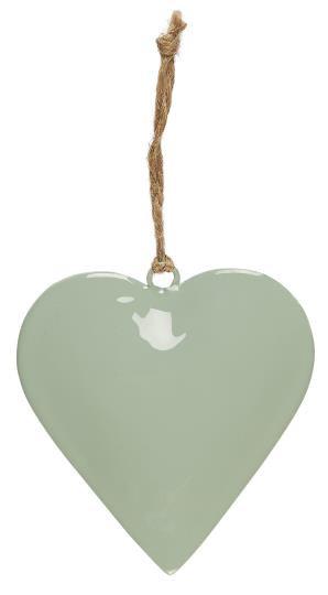 Deko Herz, grün, groß, zum anhängen, mit Juteschnur