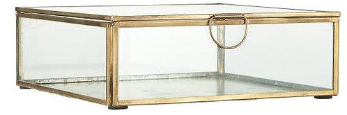 Glasschachtel mit Deckel und Einfassung aus Metall, gross