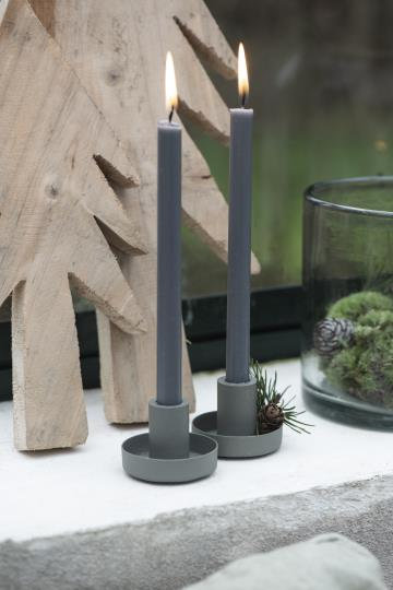 10er Set Kerzen, dünn, 20cm lang,grau
