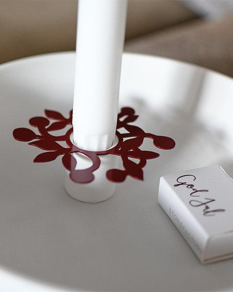 Kerzenring Ljusdala, Blume, grau, Kerzenmanschette, Kerzendeko