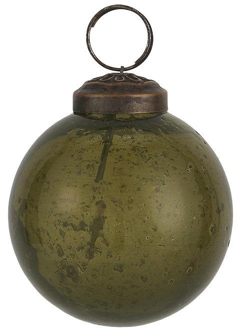Christbaumkugel mit Einschlüssen, grünes Glas