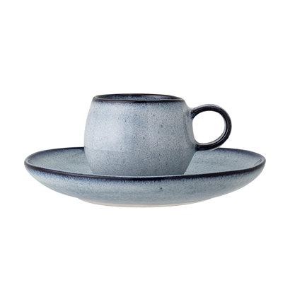 Set: Espresso Tasse und Untertasse, Bloomingville Sandrine, blau
