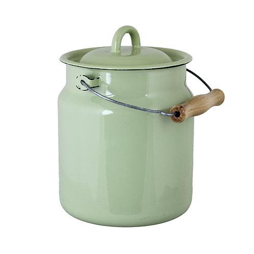 Topf, Milchkanne, Henkeltopf aus Emaille, hellgrün