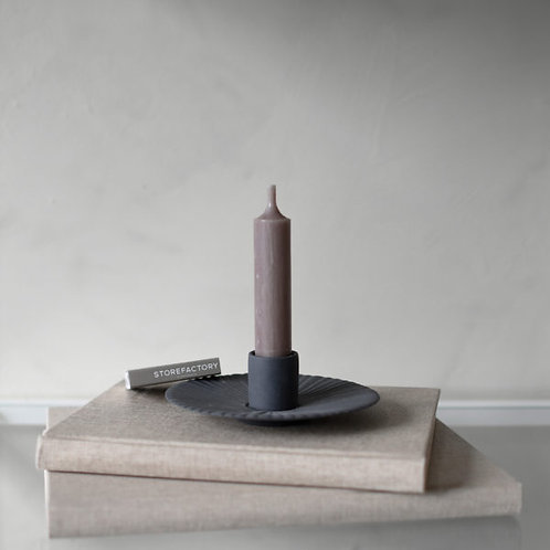 Kerzenleuchter Keramik, Kerzenteller, Holmby, dunkelgrau, klein
