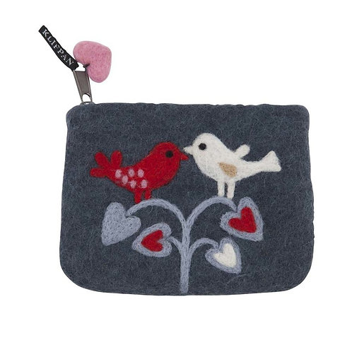 Geldbörse / Tasche Lovebirds aus gefilzter Wolle