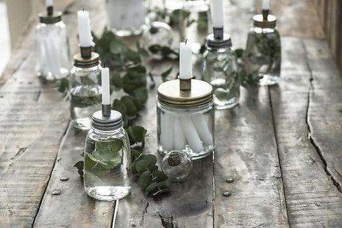Kerzenhalter mit Glas, messing, für dünne Kerzen