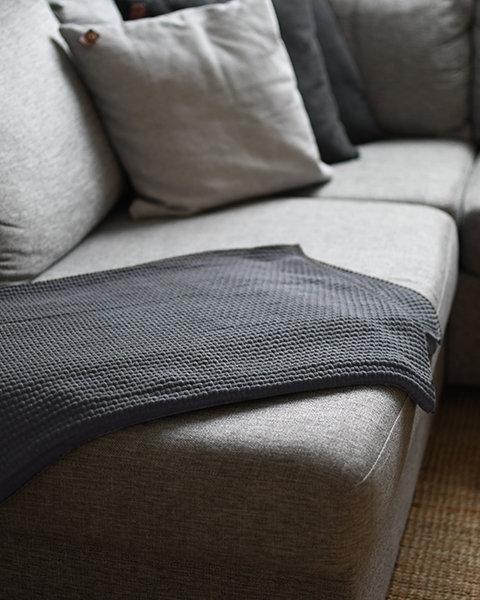 Decke Vigge, grau, gestrickte Decke, Baumwolle