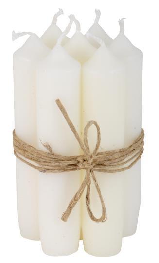 10er Set Kerzen, 11cm lang, weiss