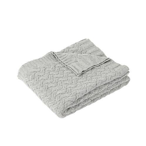 Decke mit Zopfmuster, grau, gestrickt, Lammwolle
